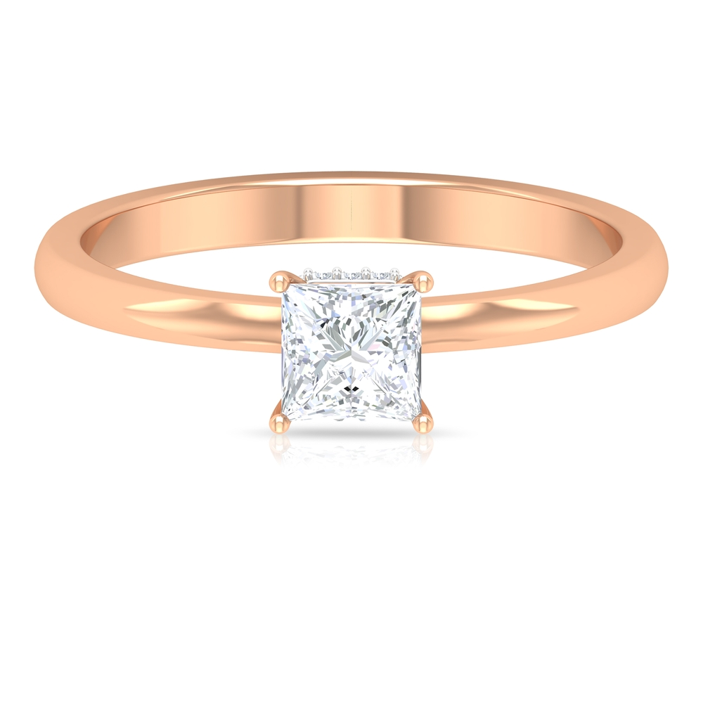 1/2 CT 4 Prong Set Solitaire and Hidden Halo Diamond Ring for Women