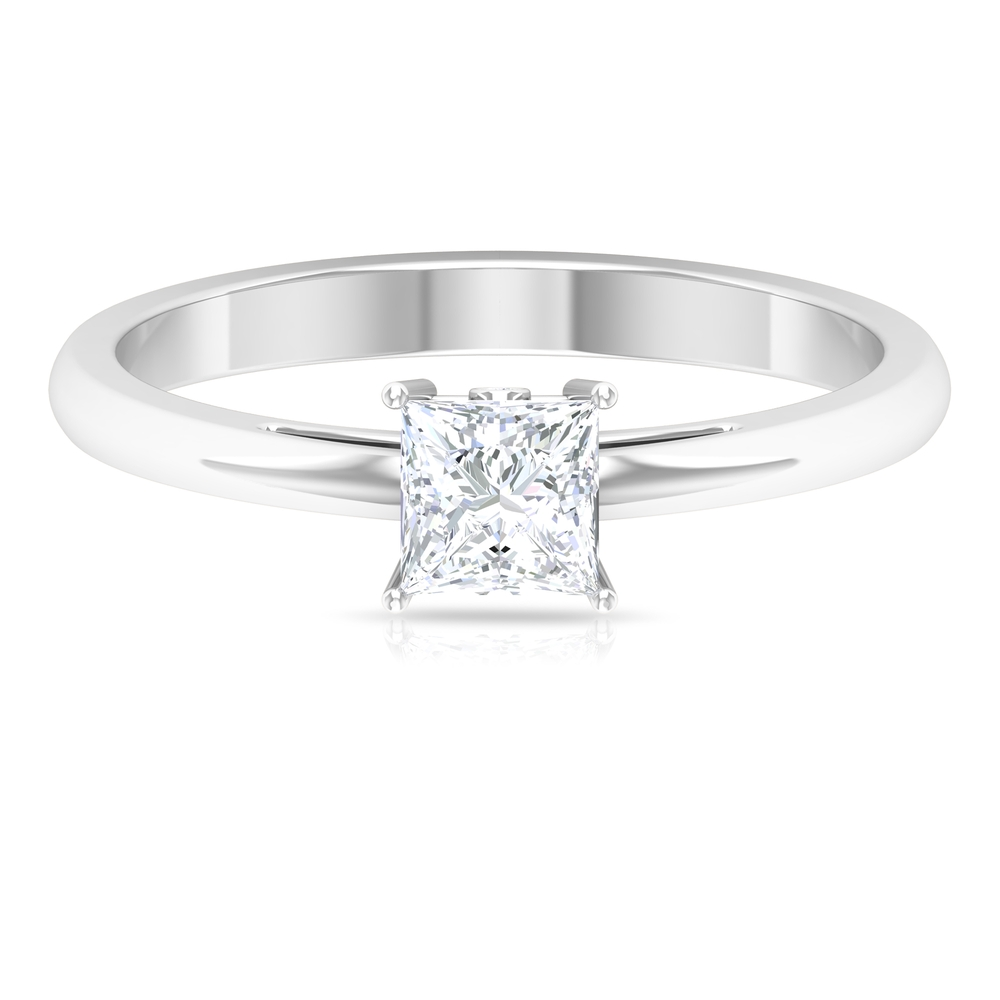 4.5X4.5 MM Princess Cut Diamond Solitaire Engagement Ring in 4 Prong Setting with Surprise Diamond