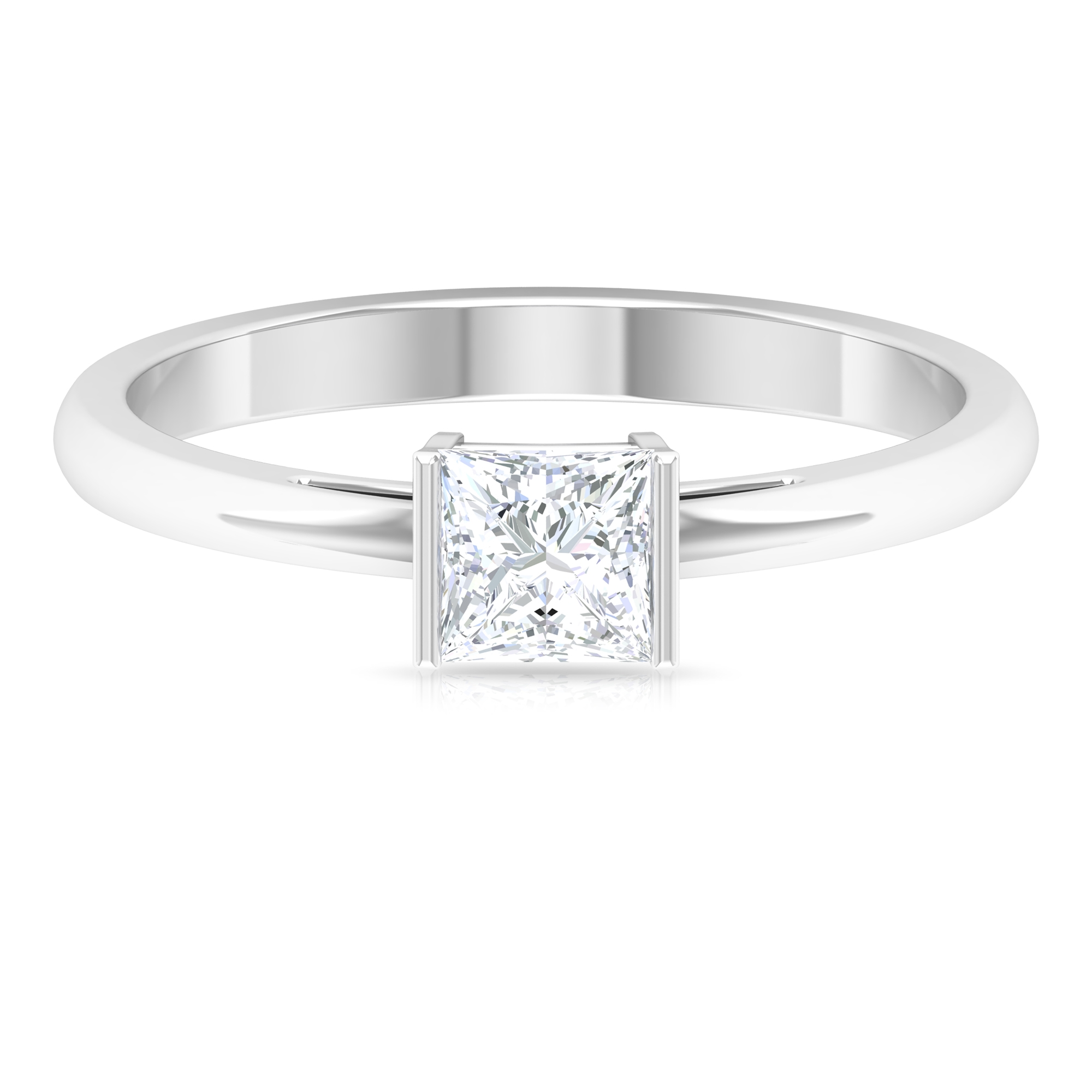 4.5X4.5 MM Princess Cut Diamond Solitaire Engagement Ring For Women in Bar Setting
