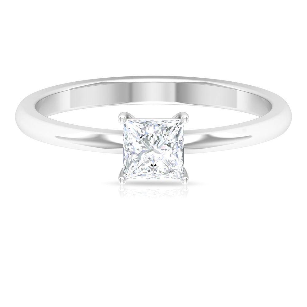 4.5 MM Princess Cut Diamond Solitaire Promise Ring in Four Prong Setting