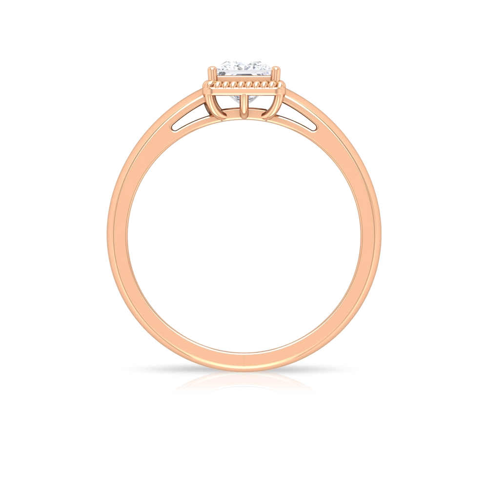 Prong Set 4.5 MM Princess Cut Diamond Solitaire Ring with Rope Frame for Women