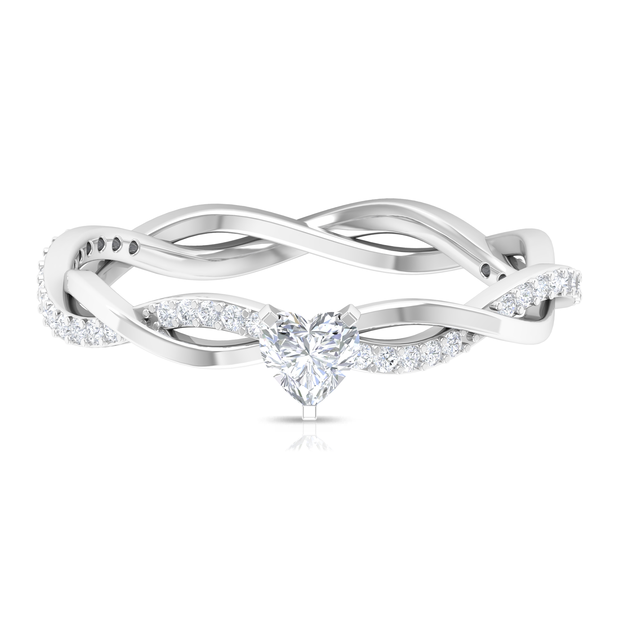 1/2 CT Three Prong Peg Head Set Solitaire and Braided Diamond Ring for Women