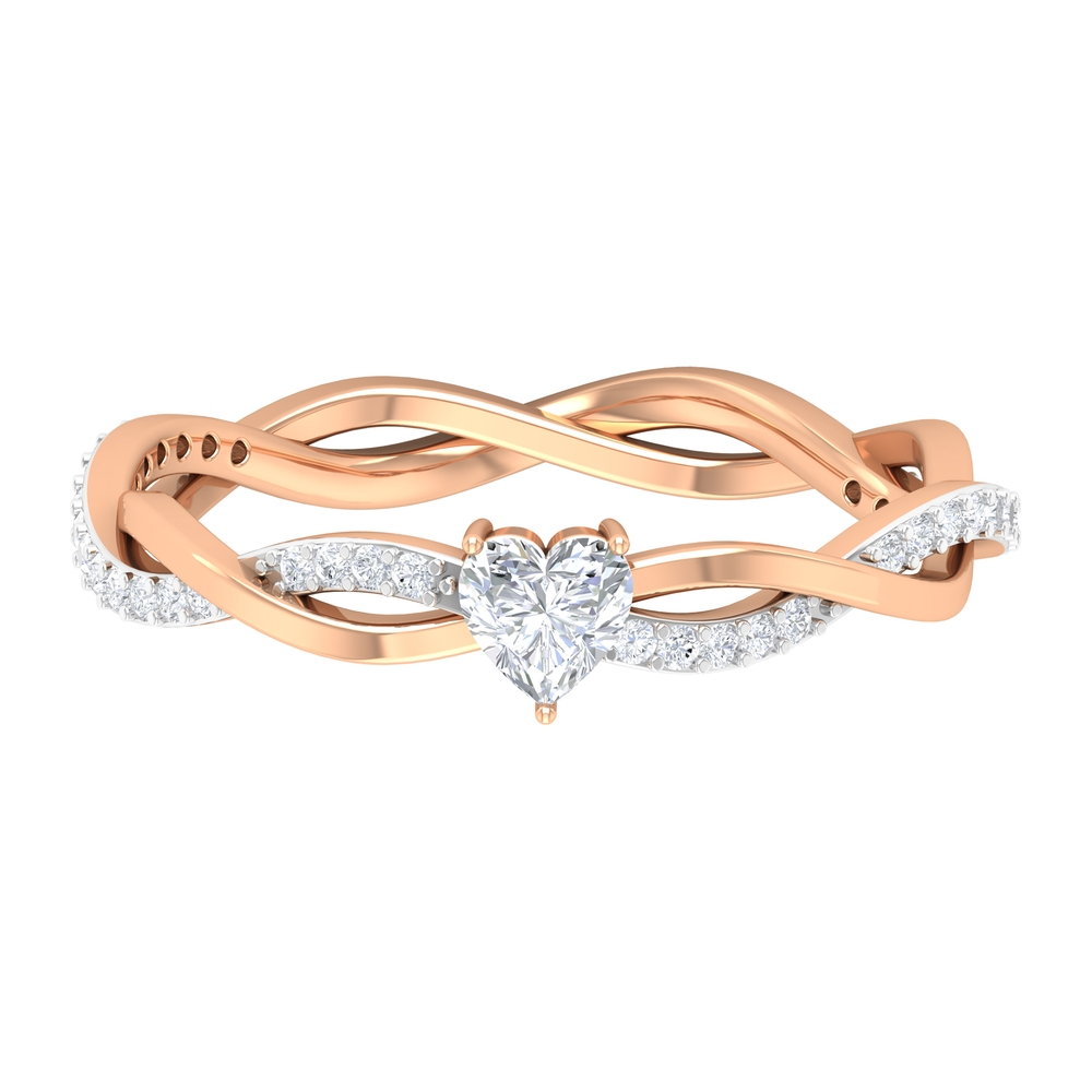 1/2 CT Three Prong Set Solitaire and Braided Diamond Ring for Women