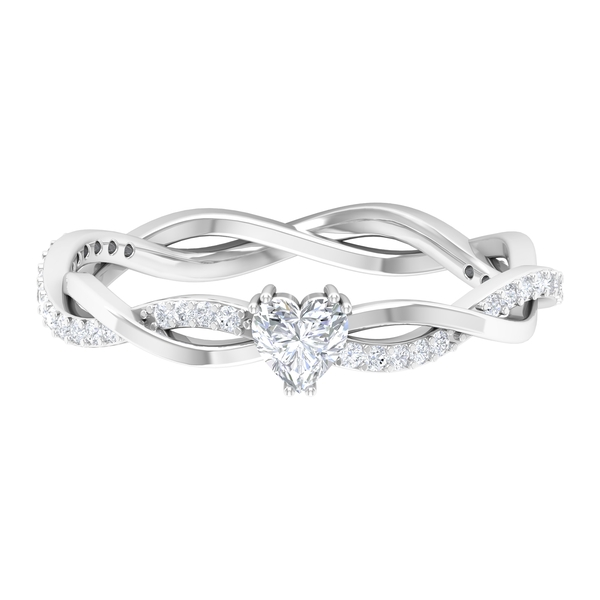 1/2 CT Double Prong Set Solitaire and Braided Diamond Ring for Women