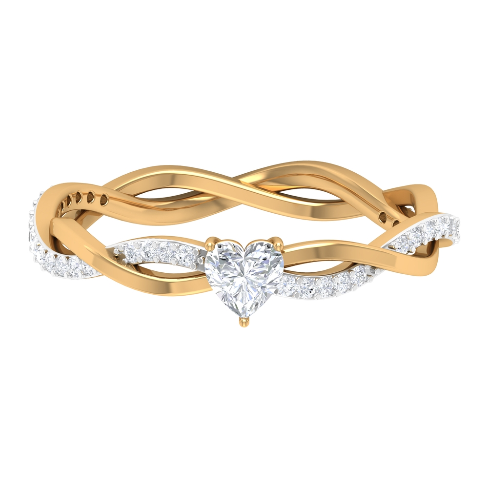 1/2 CT Three Prong Basket Set Solitaire and Braided Diamond Ring for Women