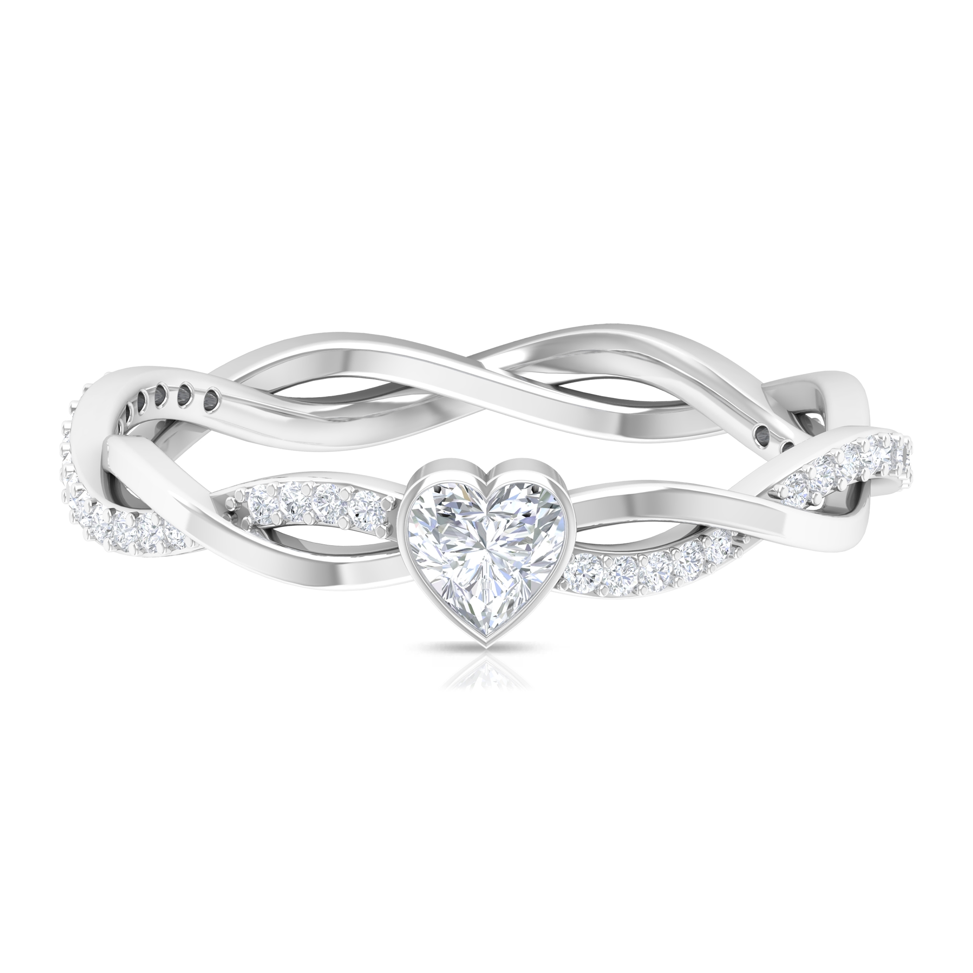 1/2 CT Bezel Set Solitaire and Braided Diamond Ring for Women