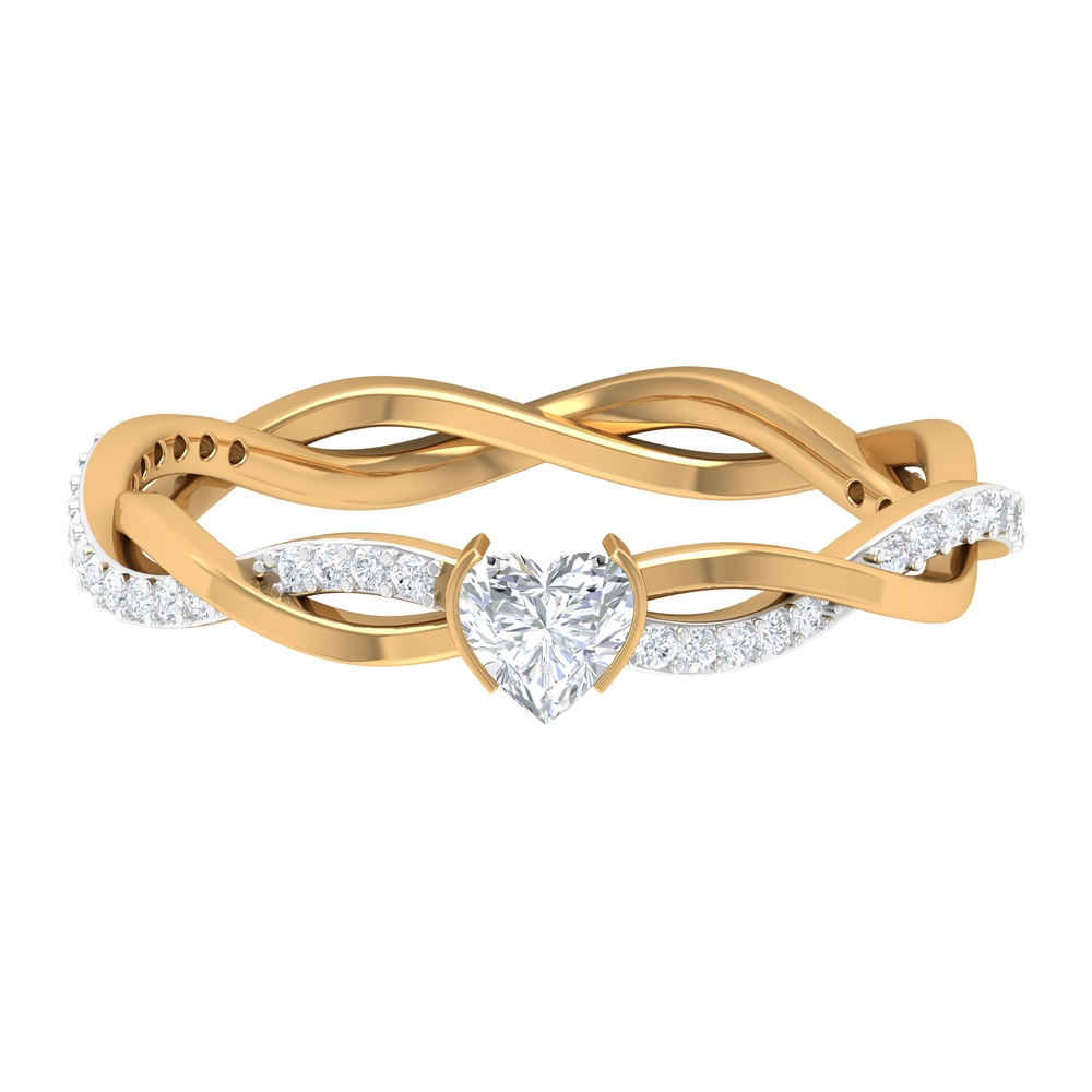 1/2 CT Half Bezel Set Solitaire and Braided Diamond Ring for Women