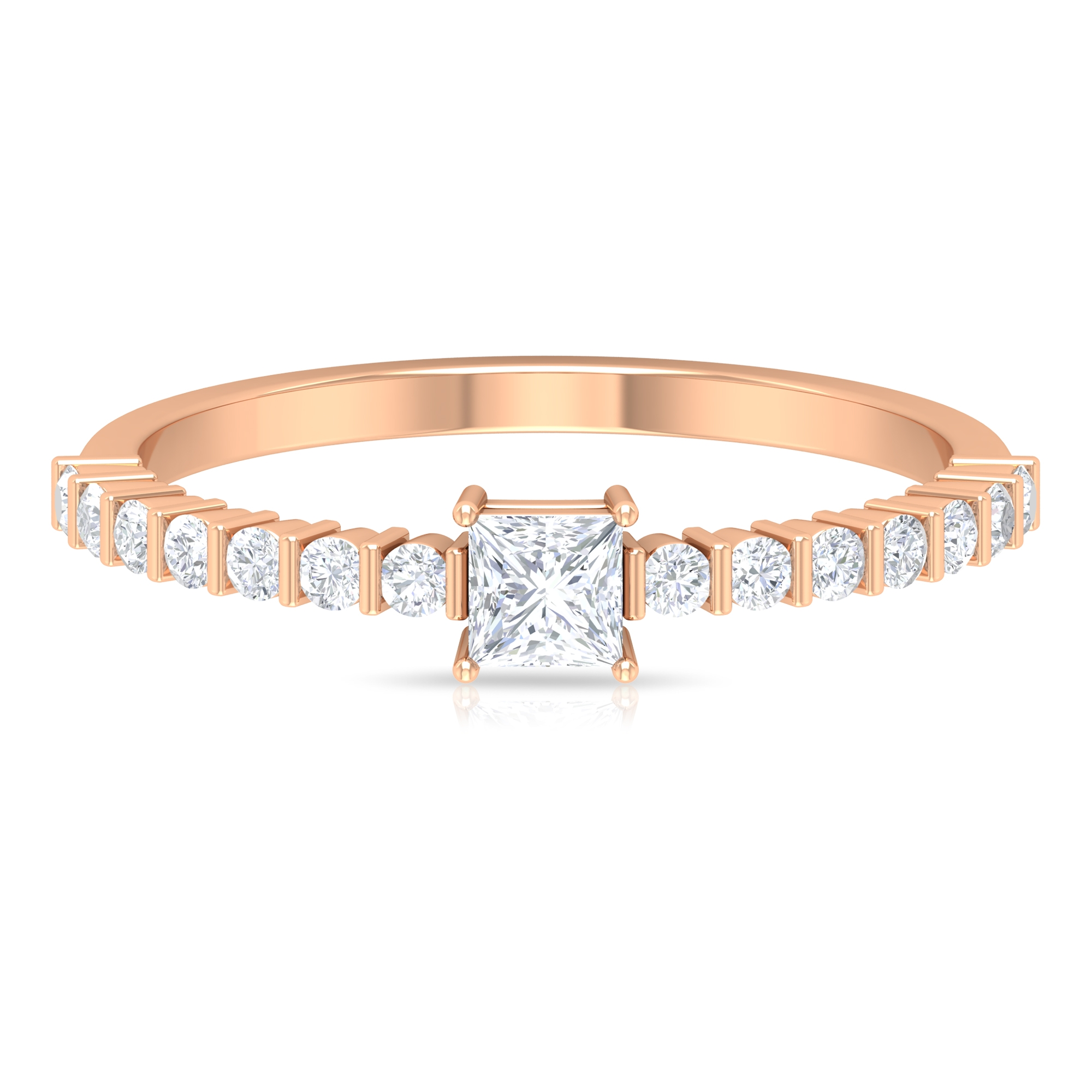 1/2 CT Princess Cut Diamond Solitaire 4-Prong Set Ring with Bar Set Side Stones
