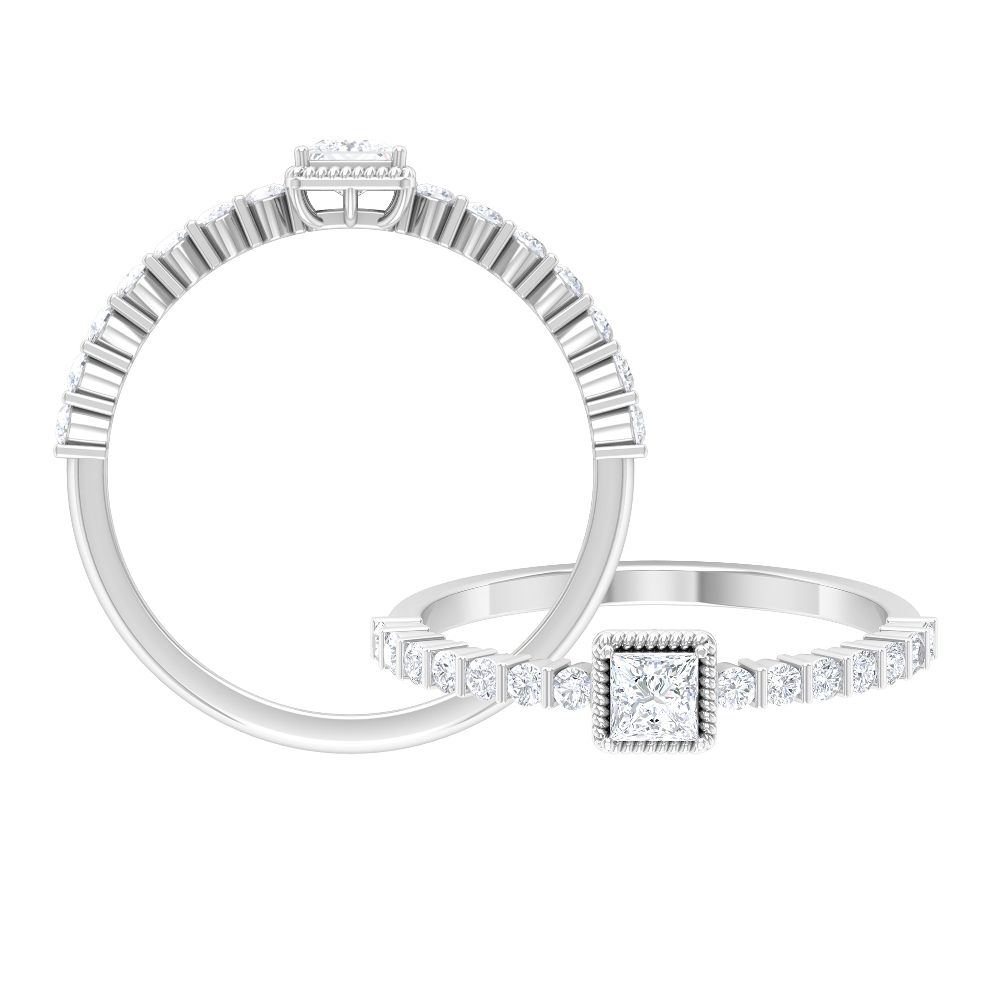 1/2 CT Rope Frame Diamond Solitaire Ring with Bar Set Side Stones
