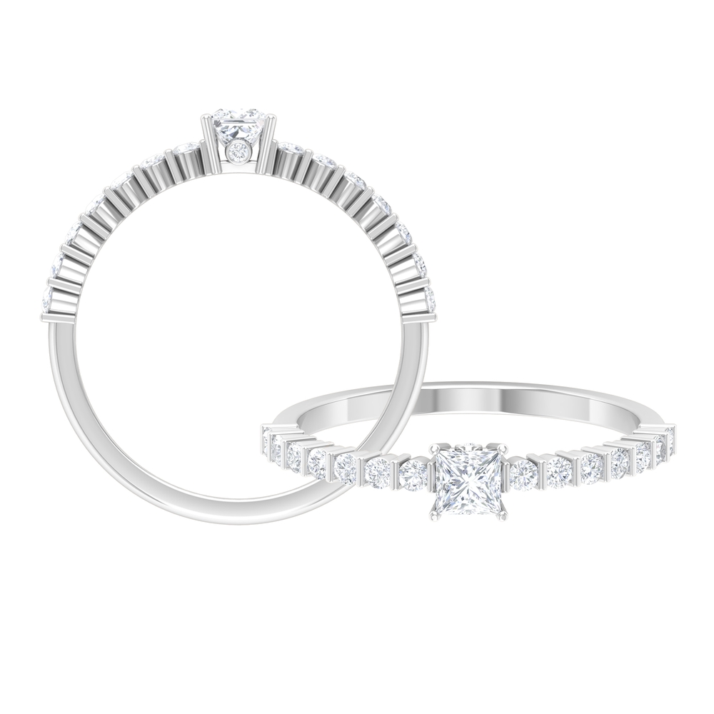 1/2 CT Princess Cut Diamond Solitaire and Surprise Ring with Bar Set Side Stones