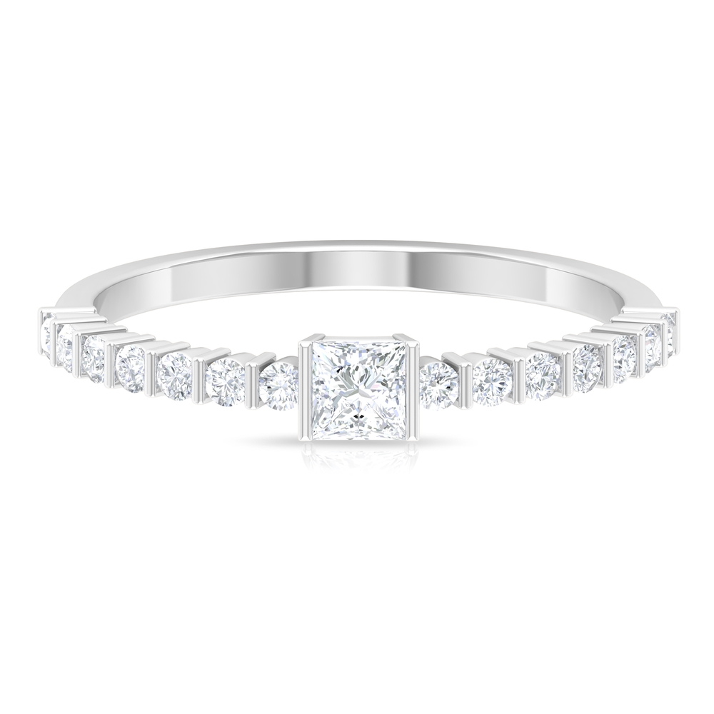 1/2 CT Bar Set Princess Cut Diamond Solitaire Ring with Side Stones