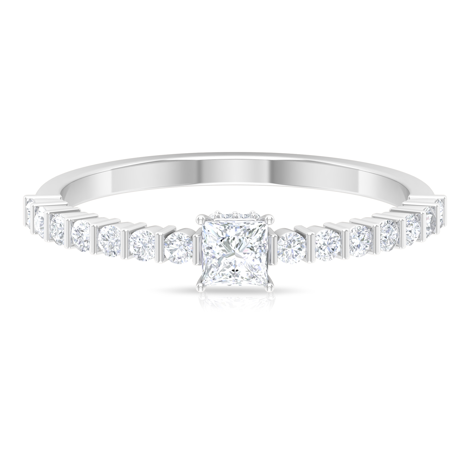 1/2 CT Princess Cut Diamond Solitaire and Hidden Halo Ring with Bar Set Side Stones