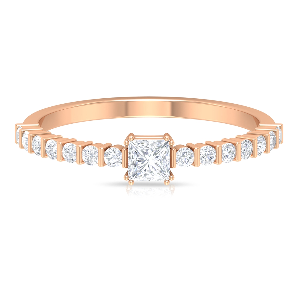 1/2 CT Princess Cut Diamond Solitaire Double Prong Set Ring with Bar Set Side Stones
