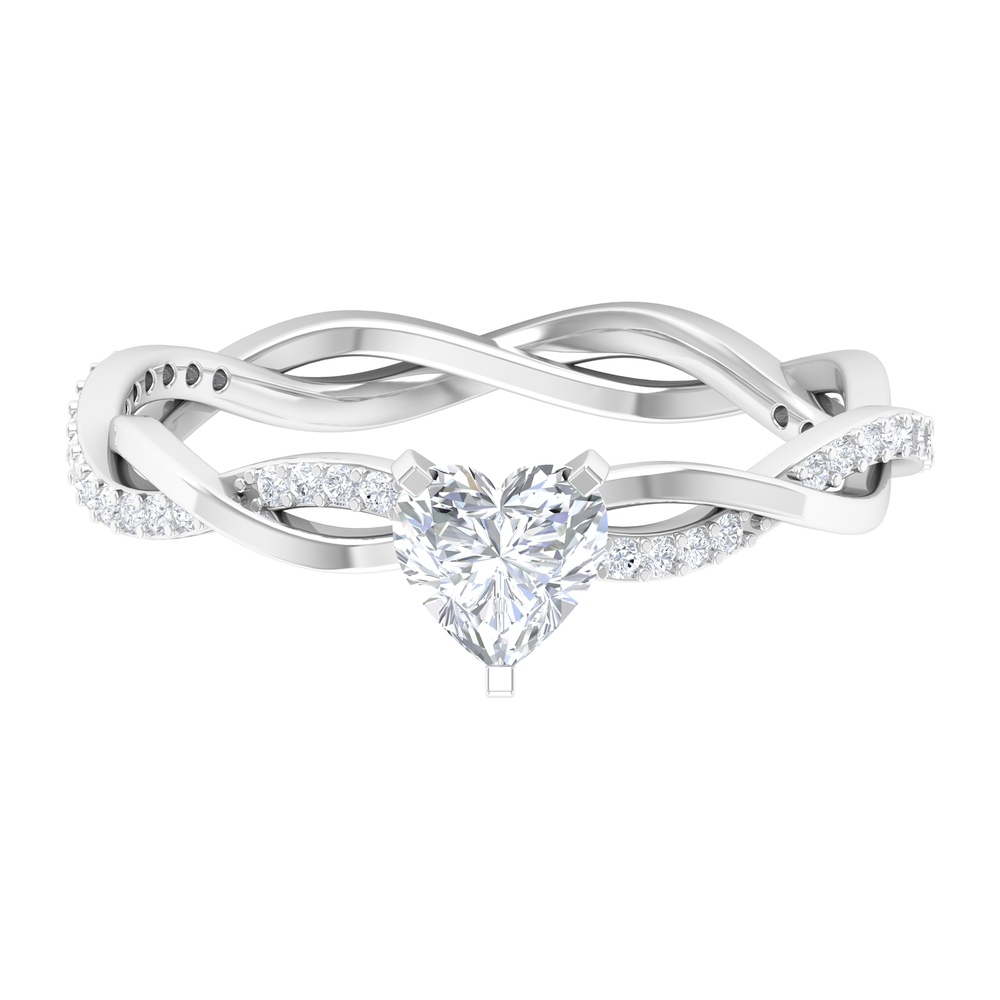 3/4 CT Heart Shape Solitaire Diamond Braided Ring in 3 Prong Peg Head Setting