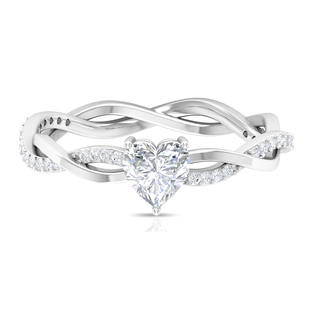 3/4 CT Heart Shape Solitaire Diamond Braided Ring in 3 Prong Setting
