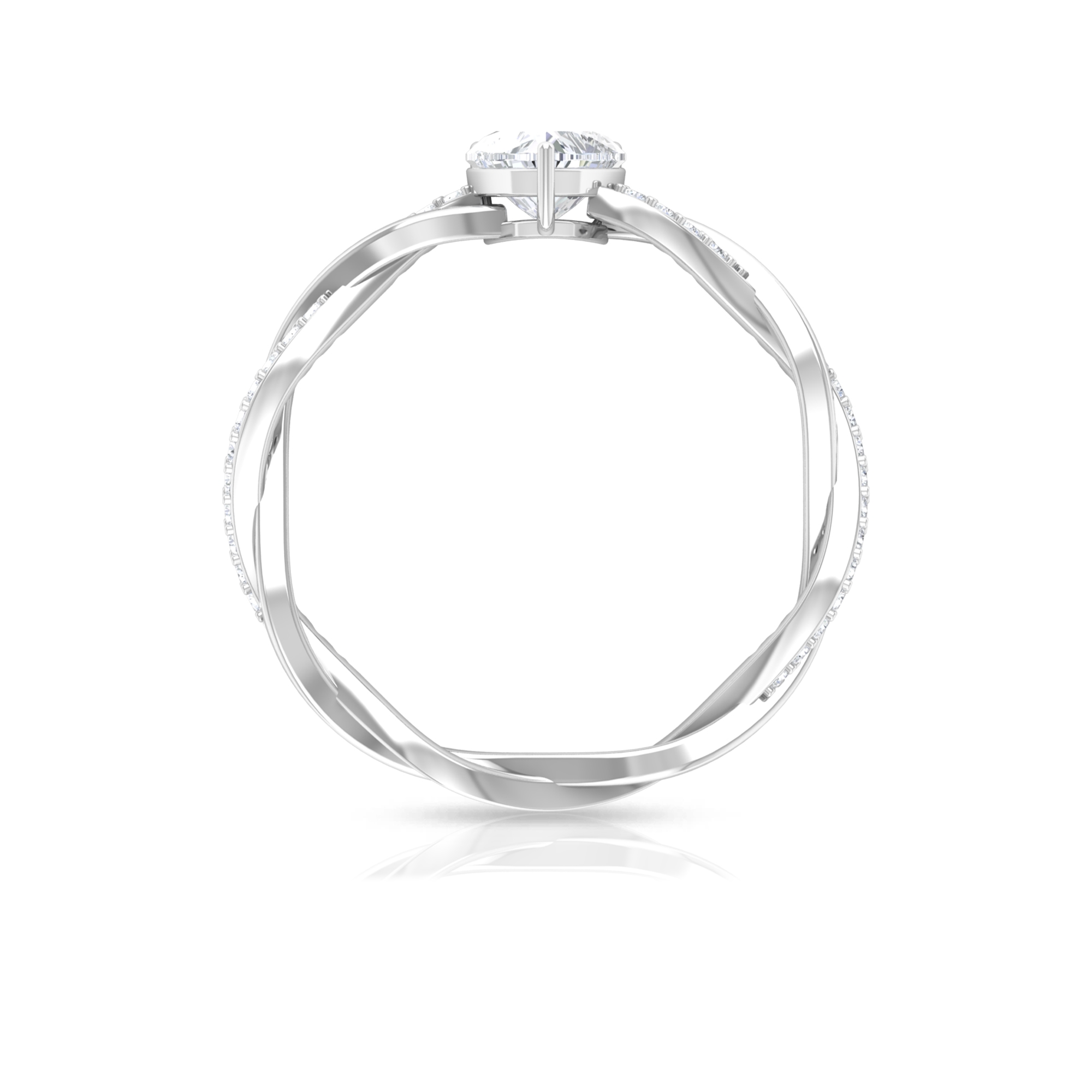 3/4 CT Heart Shape Solitaire Diamond Braided Ring in 3 Prong Basket Setting