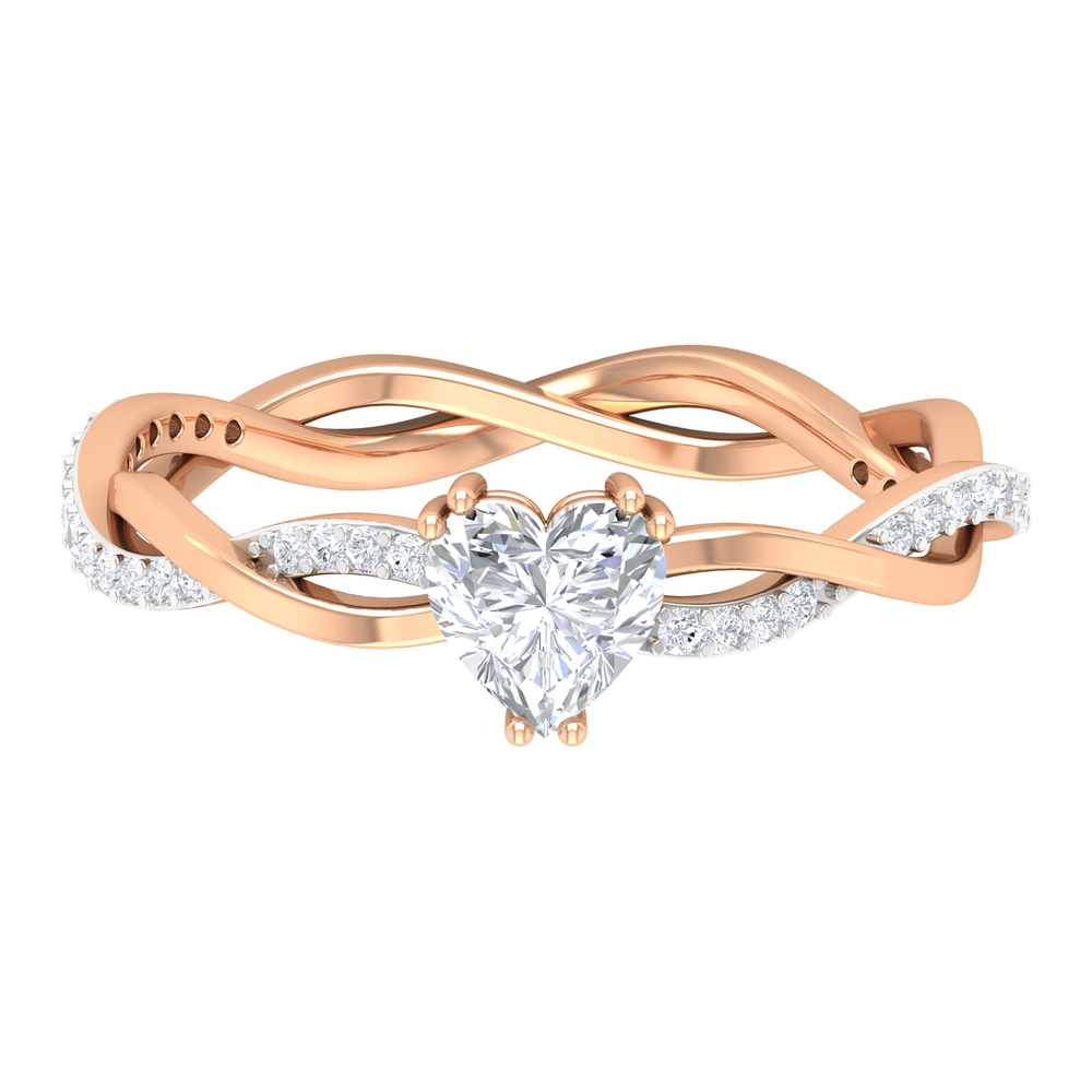 5.4 MM Heart Diamond Solitaire Ring in Double Prong Set with Braided Style