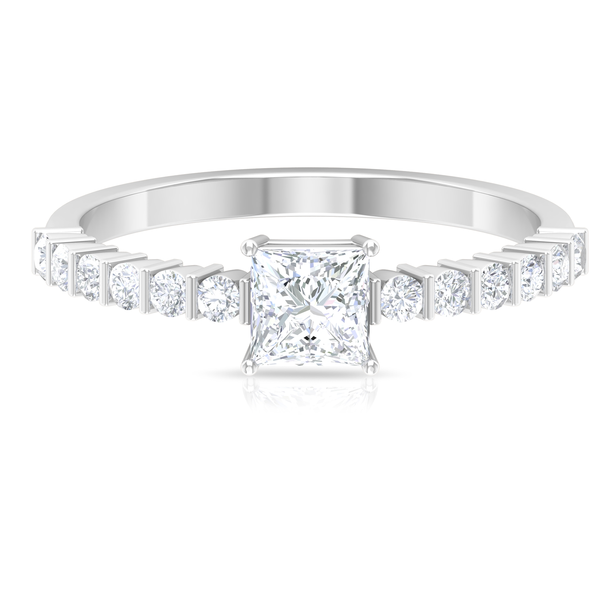 4.5 MM Princess Cut Diamond Solitaire 4-Prong Set Ring with Bar Set Side Stones