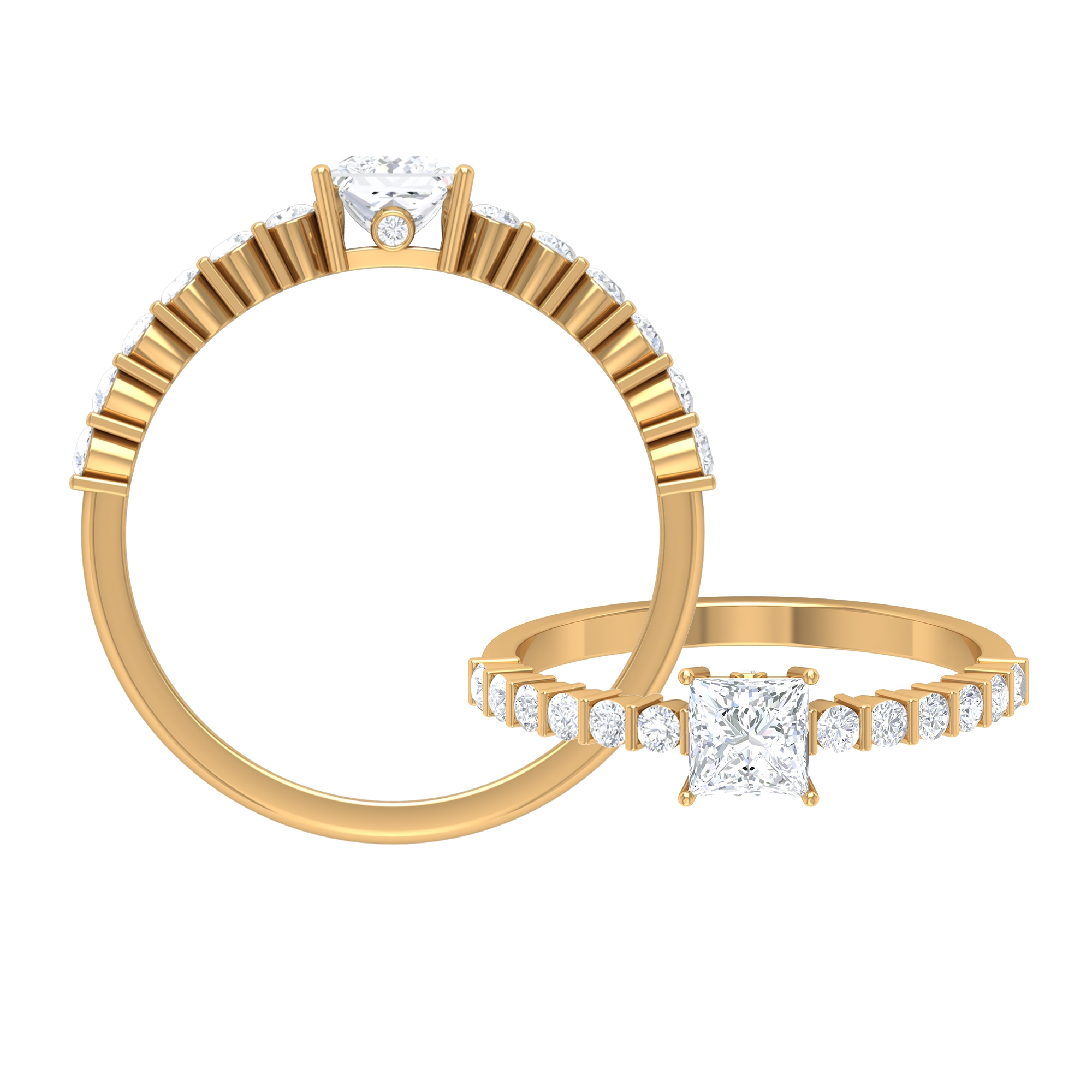 3/4 CT Diamond Solitaire and Surprise Ring with Bar Set Side Stones