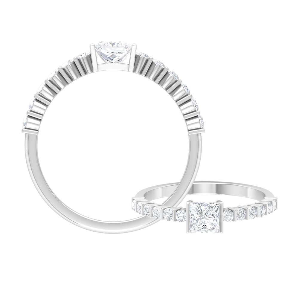 3/4 CT Bar Set Diamond Solitaire Ring with Side Stones