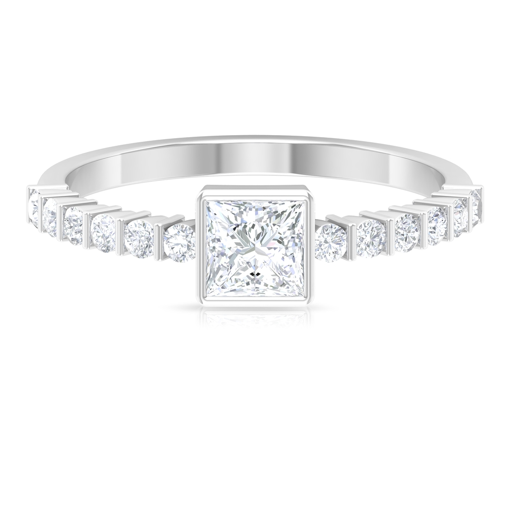 3/4 CT Diamond Solitaire Bezel Set Ring with Bar Set Side Stones