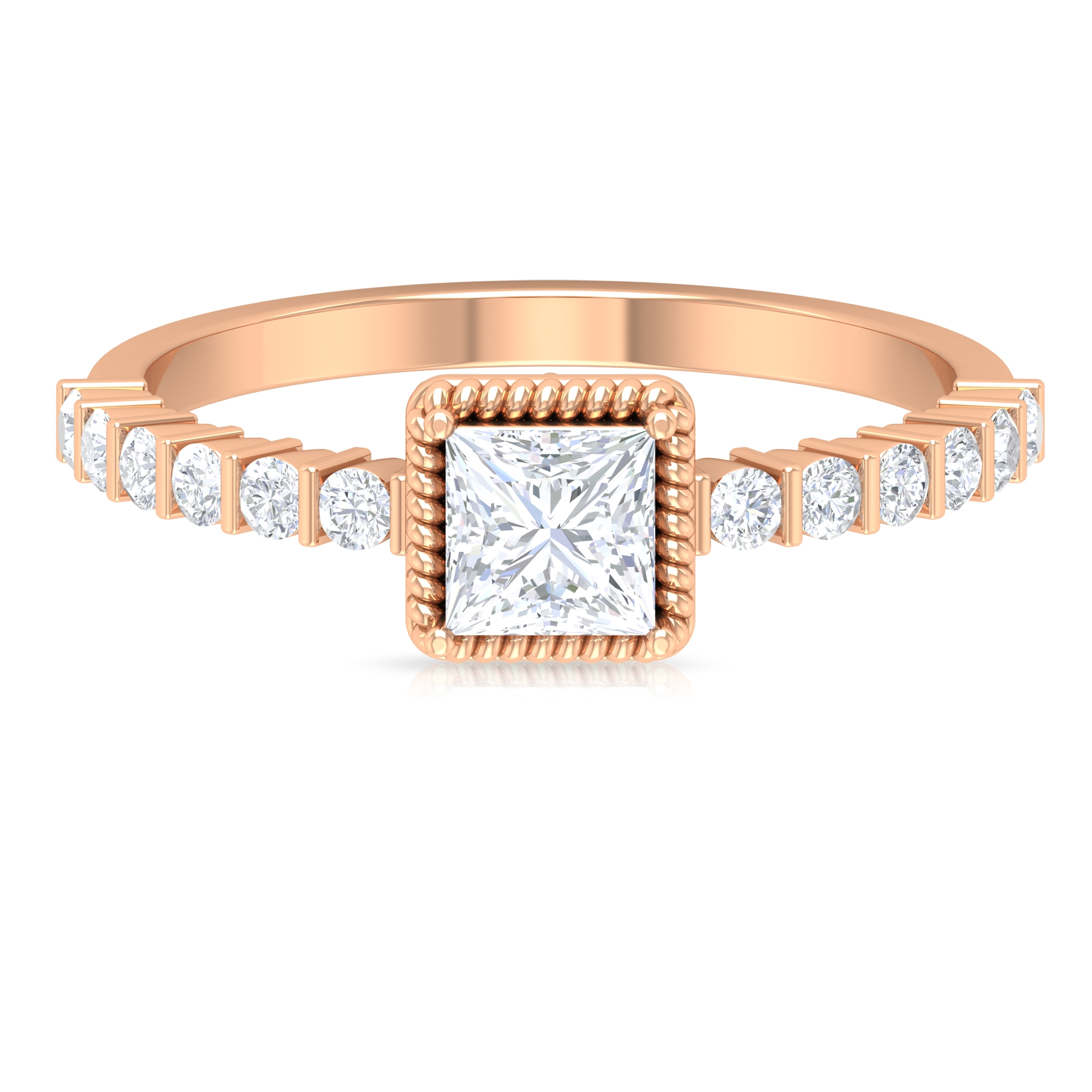 3/4 CT Rope Frame Diamond Solitaire Ring with Bar Set Side Stones