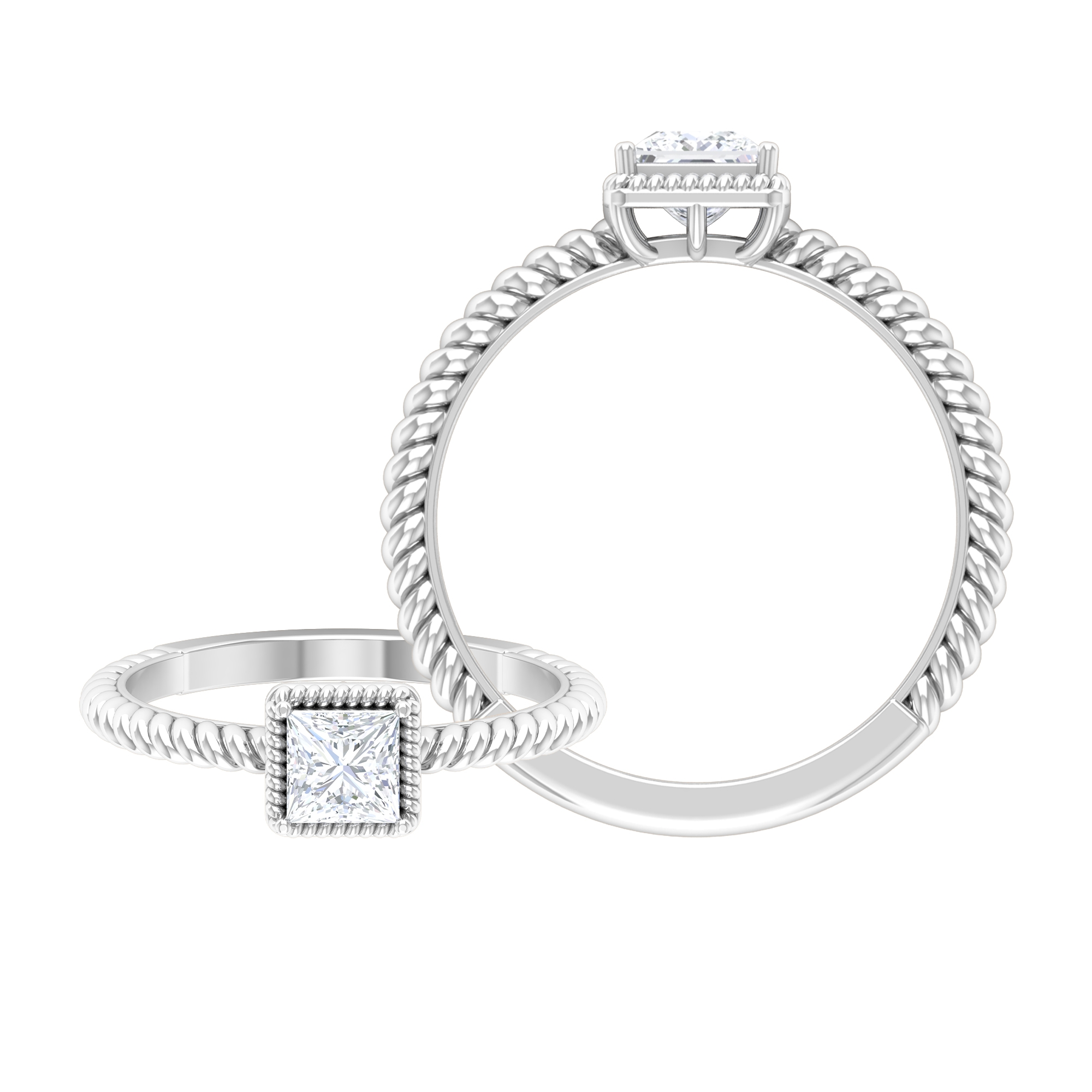 1/2 CT Diamond Solitaire Prong Set Ring with Rope Frame