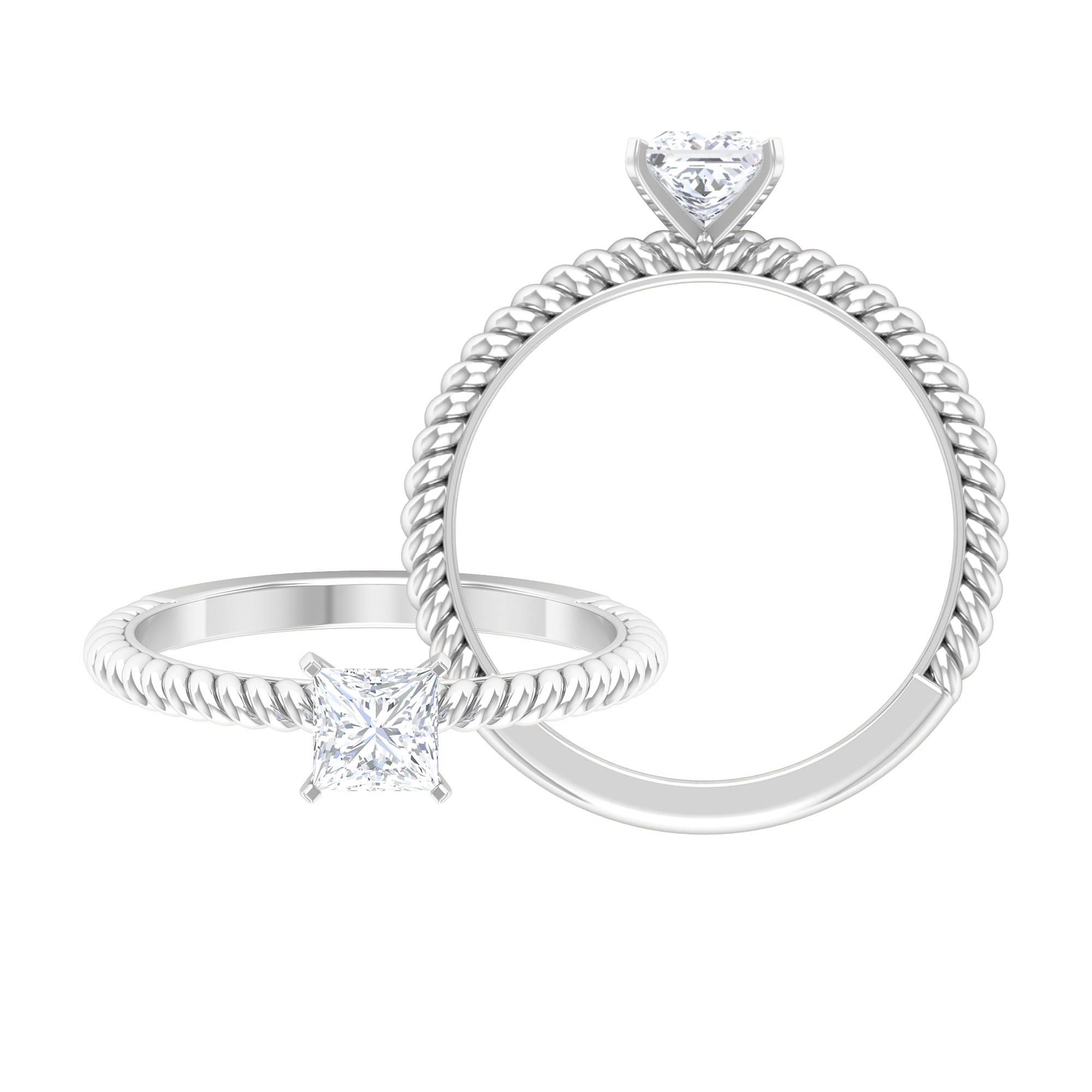 1/2 CT Diamond Solitaire Peg Head Set Ring with Rope Frame