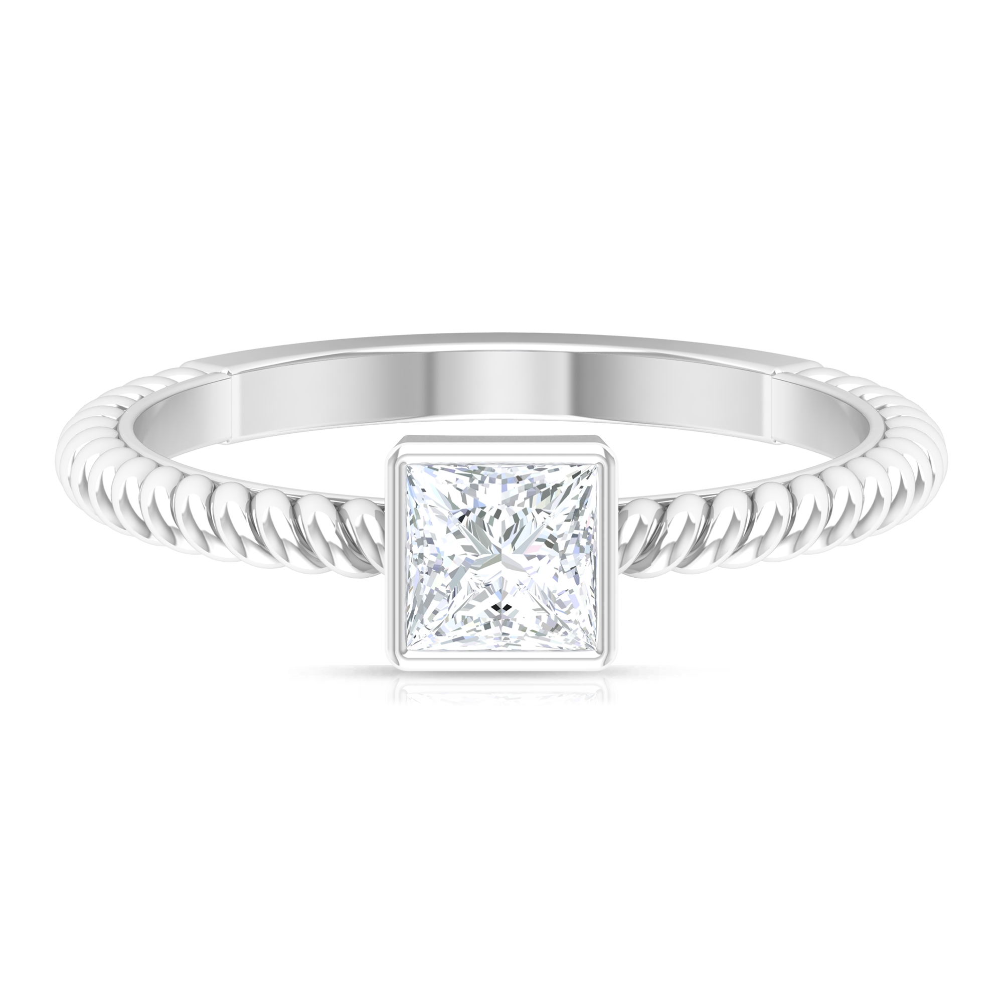 1/2 CT Diamond Solitaire Bezel Set Ring with Rope Frame