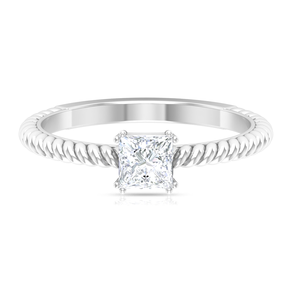 4.5 MM Princess Cut Diamond Solitaire Ring in Double Prong Set with Twisted Rope Shank
