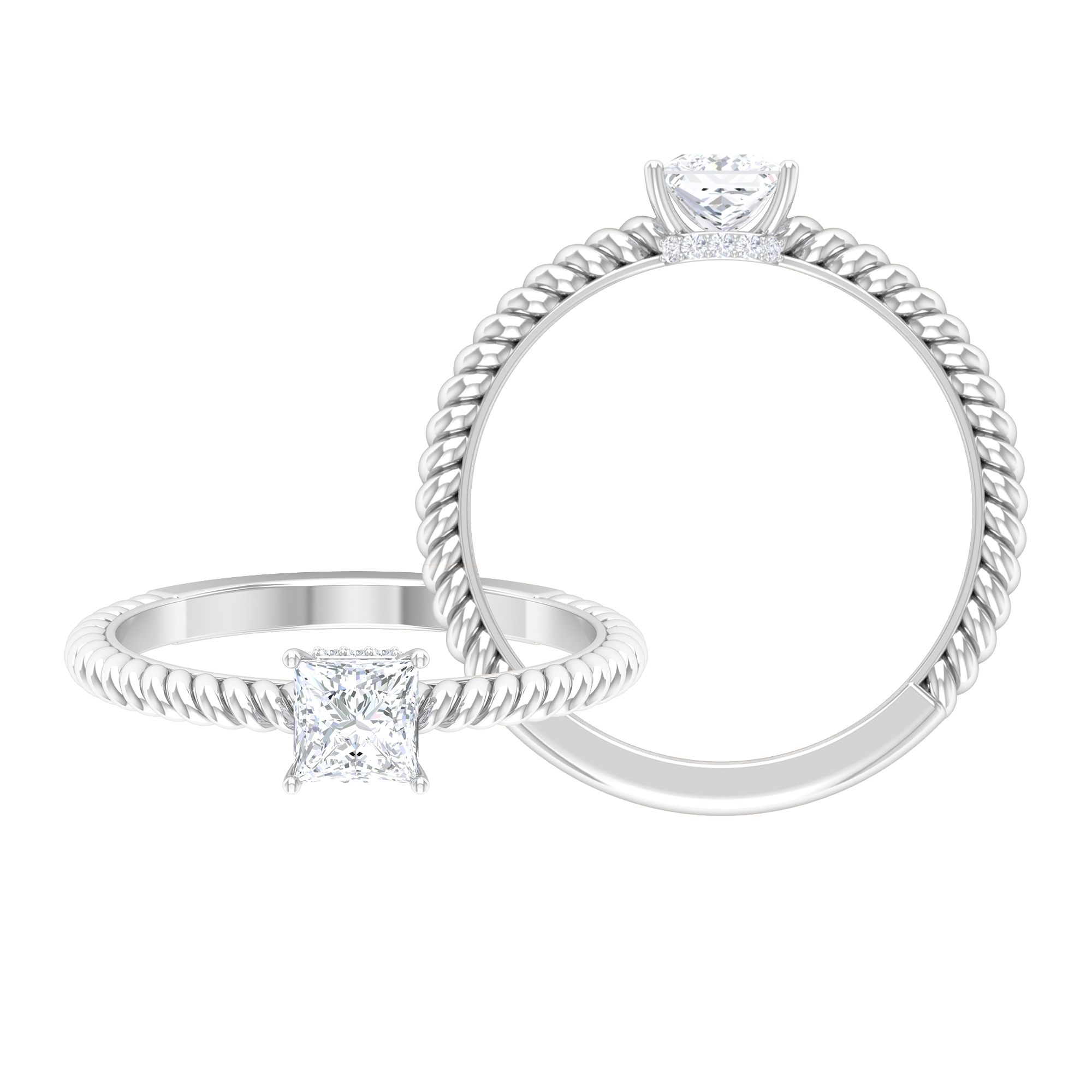 4.5 MM Princess Cut Solitaire Diamond Ring with Twisted Rope Shank and Hidden Halo Style