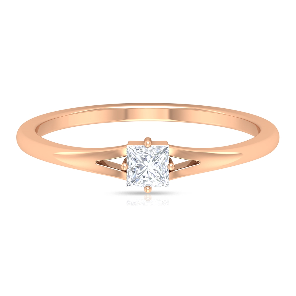 3.3 MM Princess Cut Diamond Solitaire Ring in Four Prong Diagonal Setting