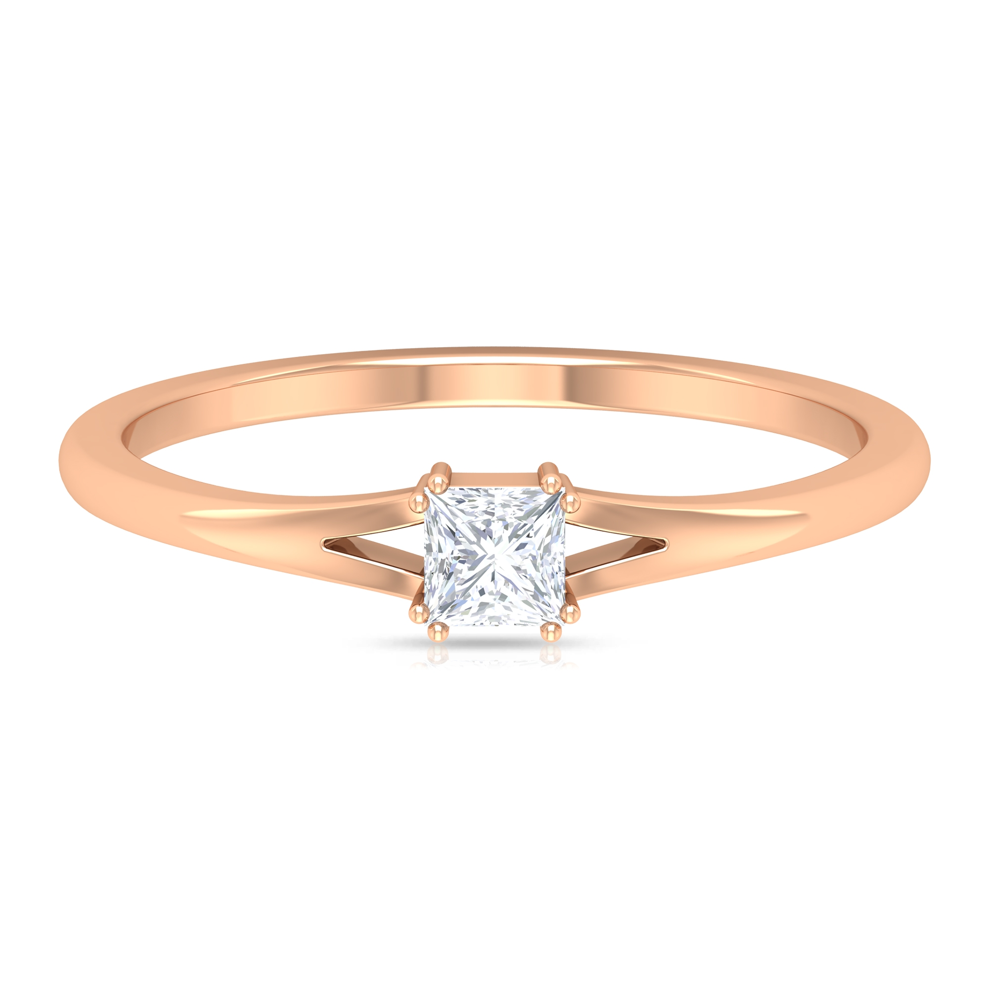 3.3 MM Princess Cut Diamond Solitaire Ring in Double Prong Setting