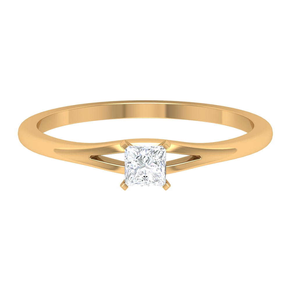 3.3 MM Princess Cut Diamond Solitaire Ring in French Setting