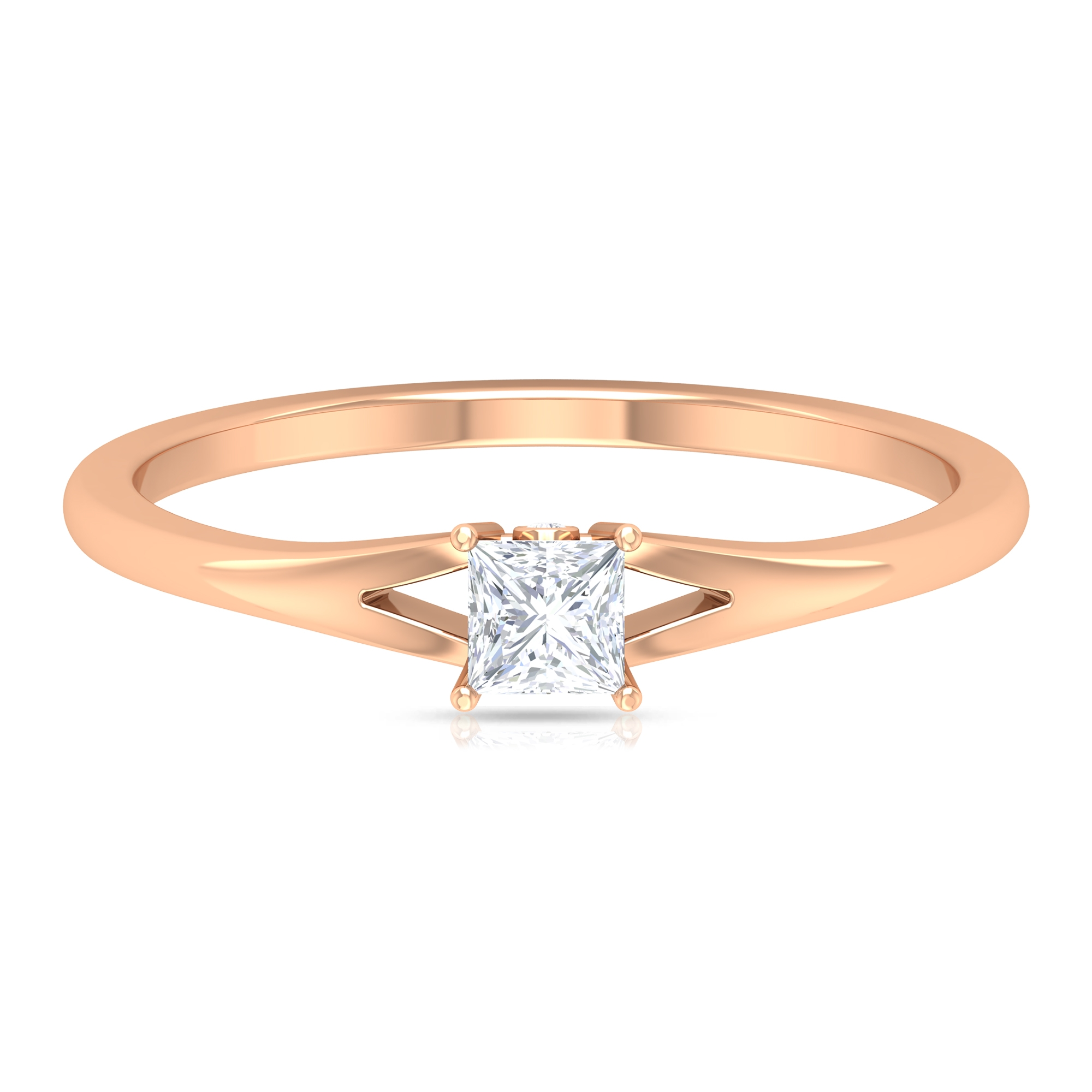 3.3 MM Princess Cut Diamond Solitaire Ring in Prong Setting with Split Shank