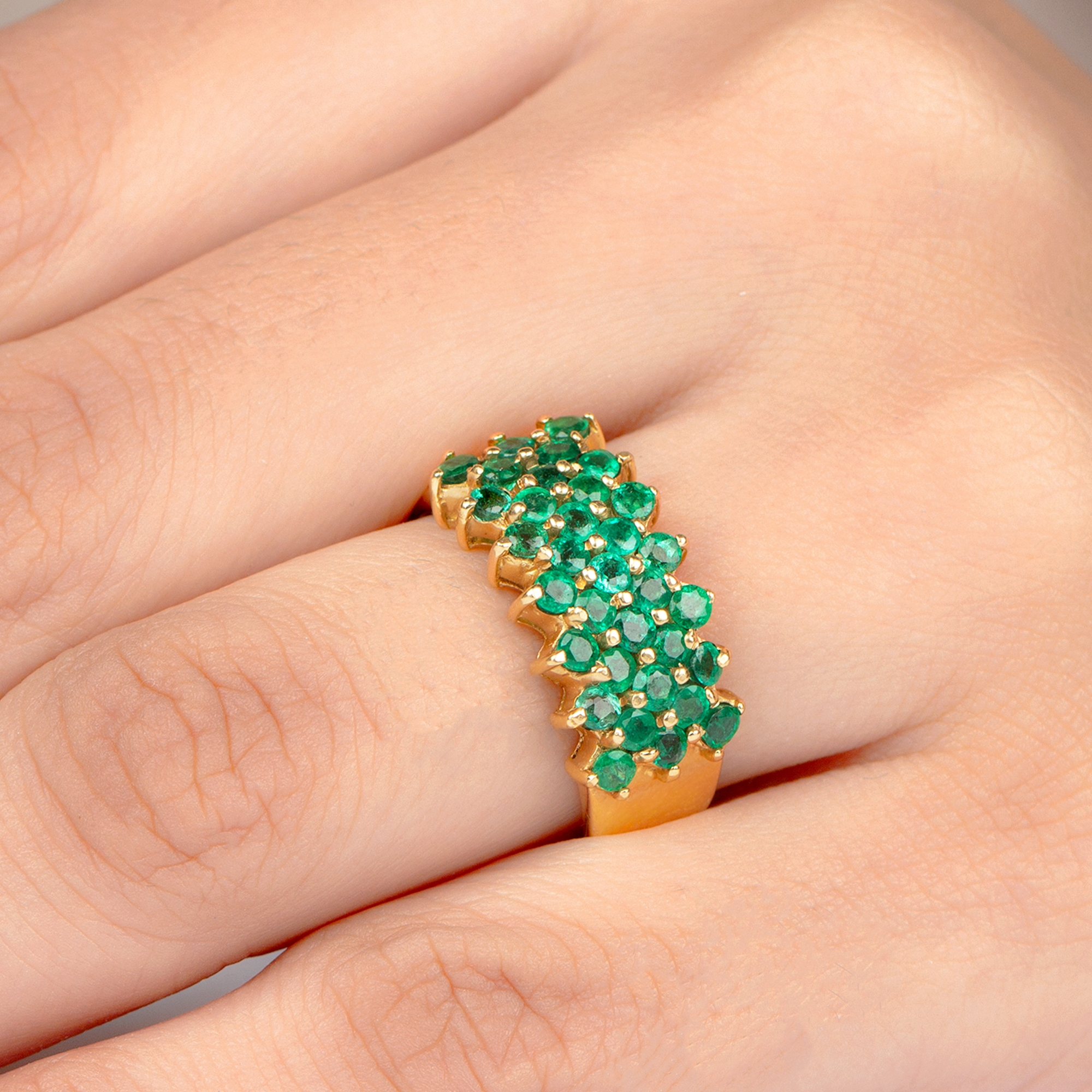 1.75 CT Emerald Cluster Band Ring