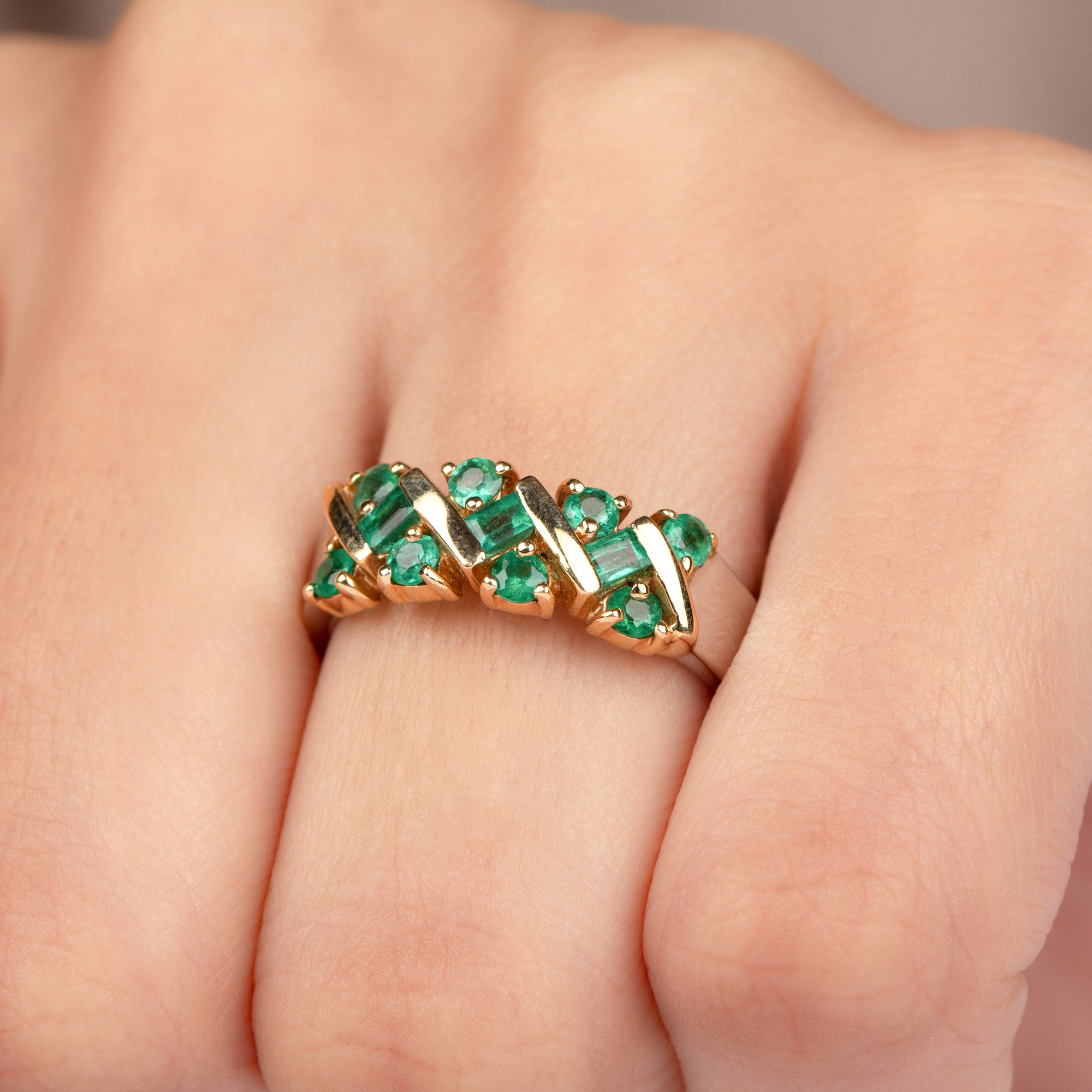 1 CT Baguette and Round Cut Emerald Band Ring