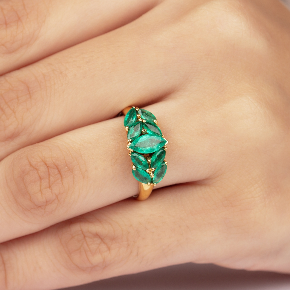 1.75 CT Marquise Cut Emerald Minimal Engagement Ring