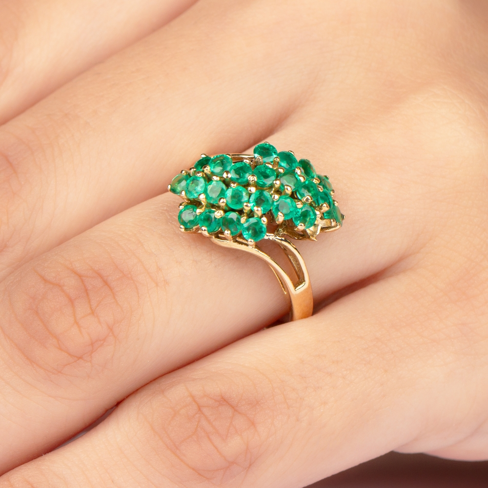 1.50 CT Emerald Cluster Engagement Ring