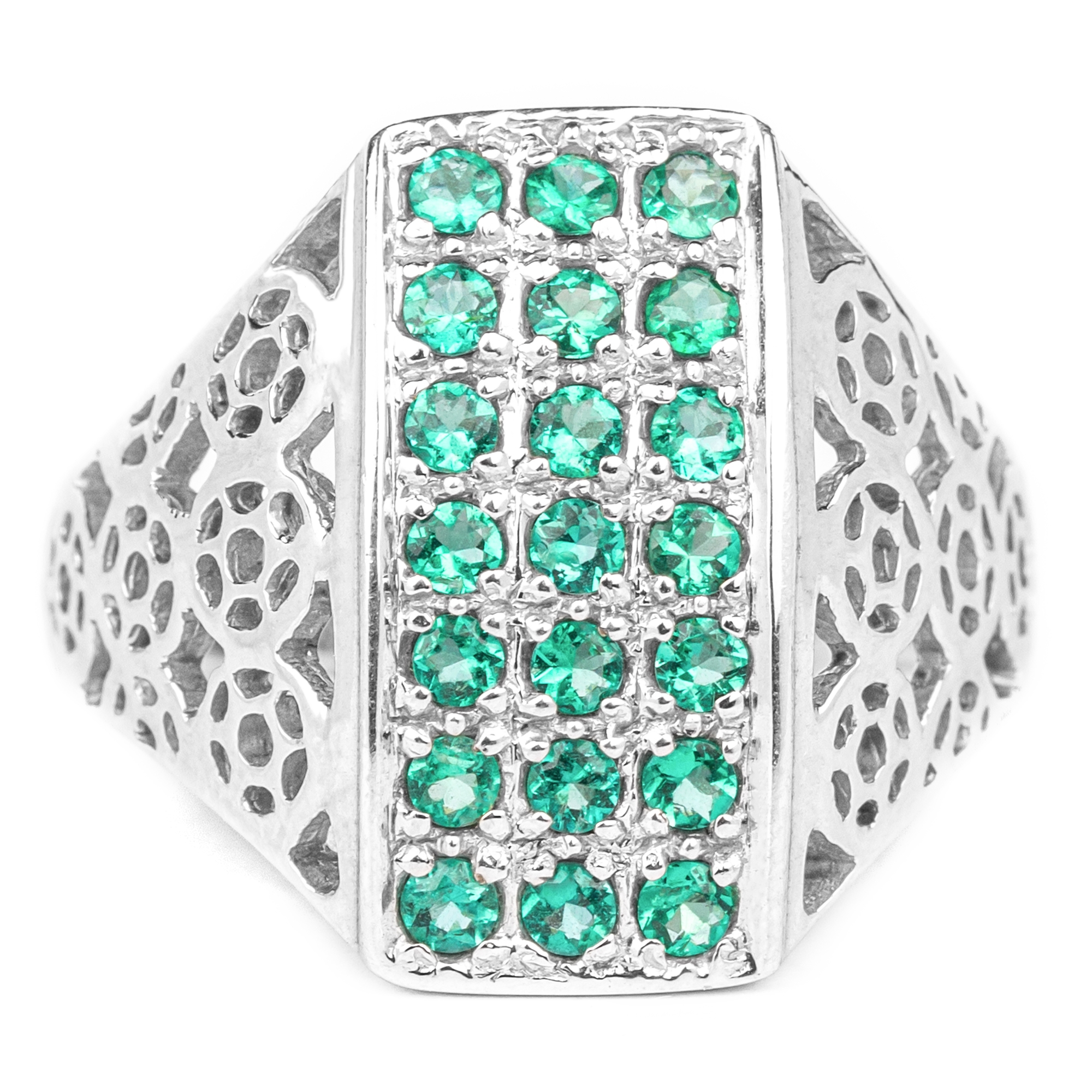 1 CT Emerald Unisex Statement Ring with Gold Cutout Details