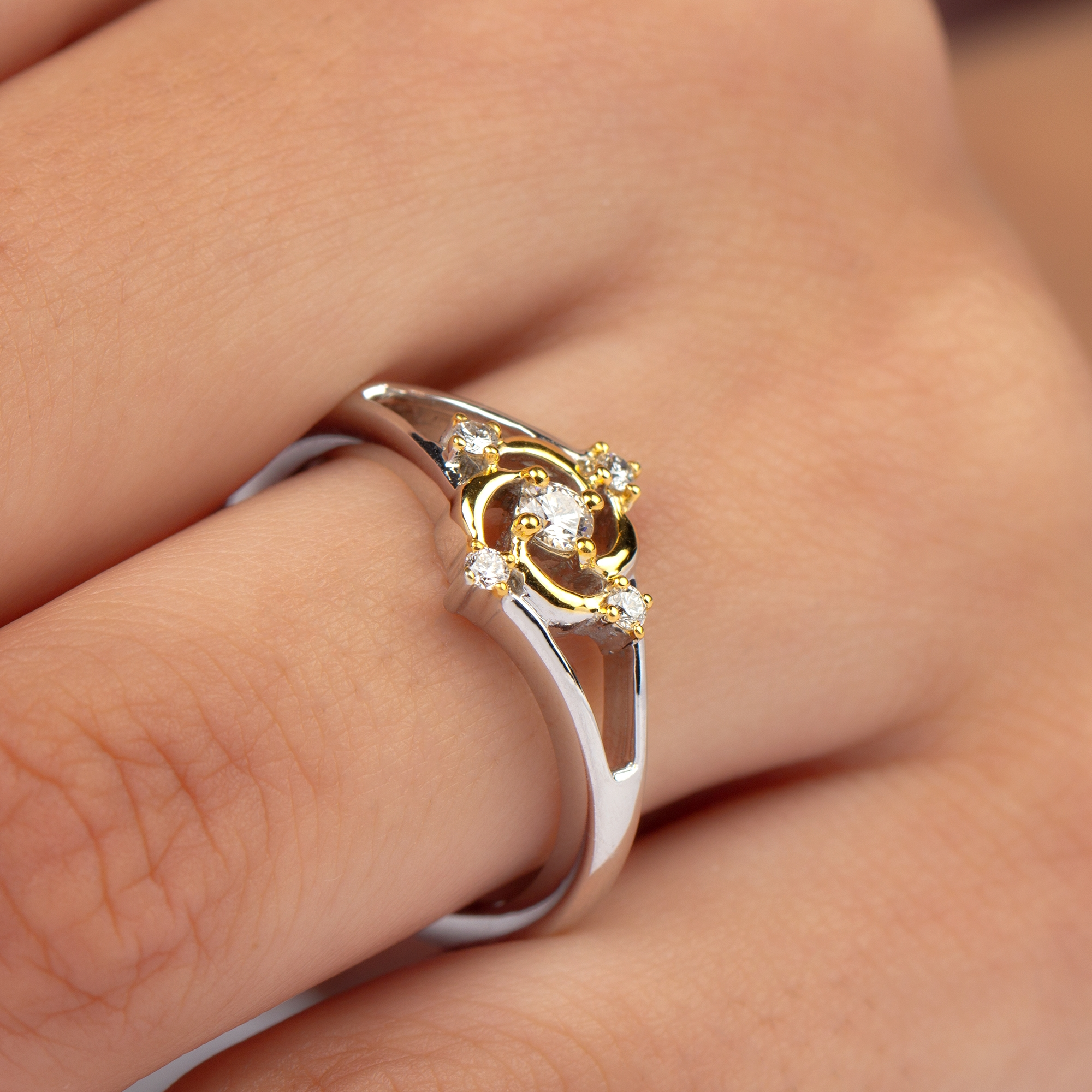 1/4 CT Diamond and Two Tone Gold Swirl Ring