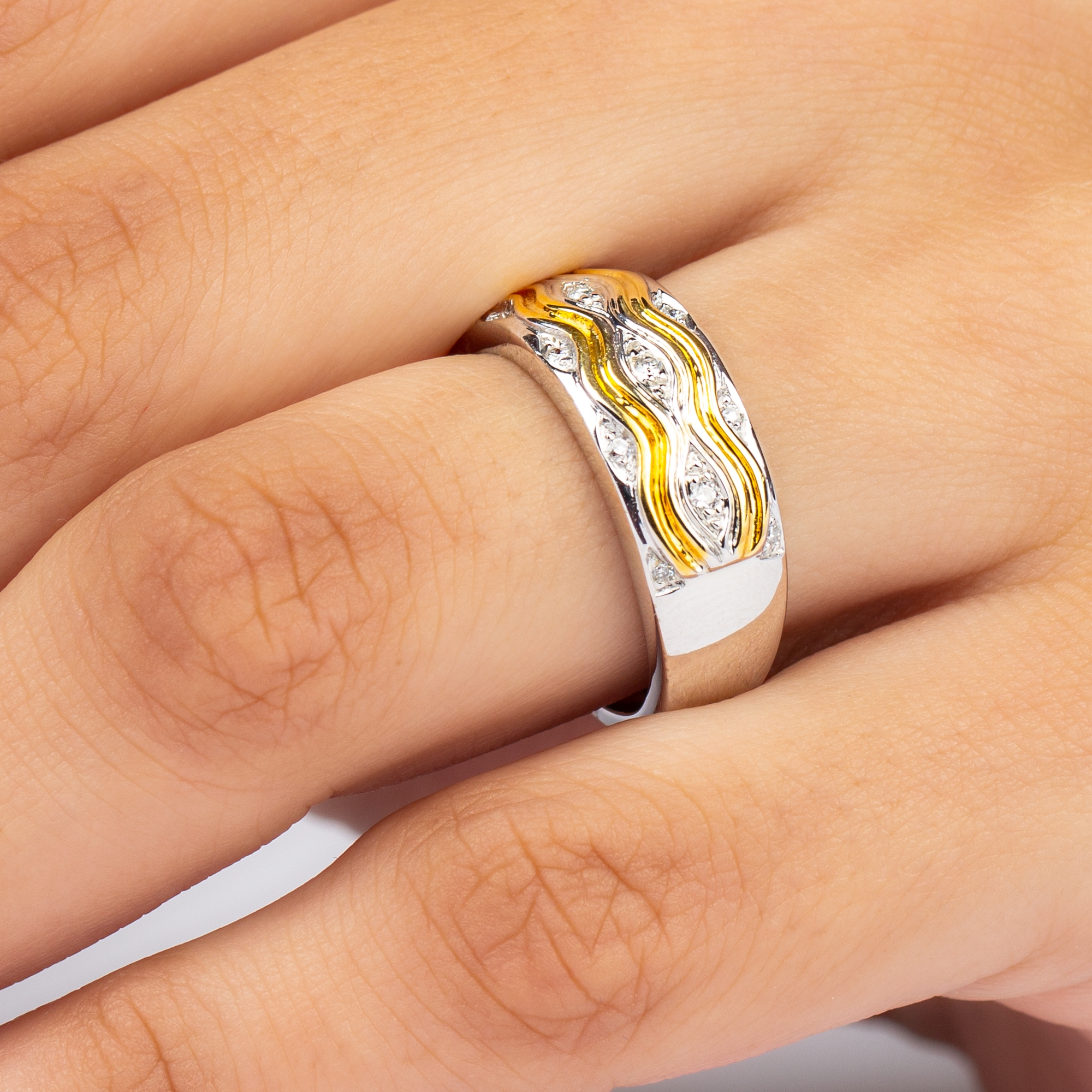 Diamond and Two Tone Gold Unisex Band Ring