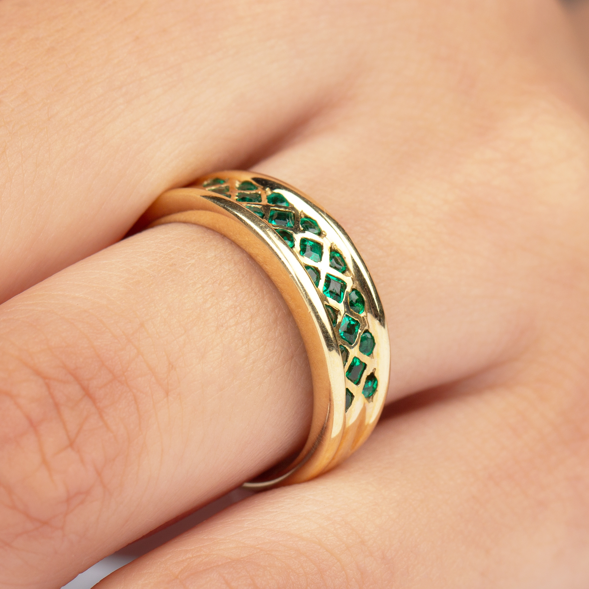 1/2 CT Bezel Set Emerald and Gold Band Ring