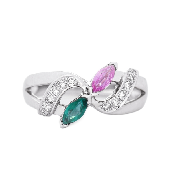 3/4 CT Marquise Cut Emerald and Pink Sapphire Minimal Engagement Ring with Diamond Accent