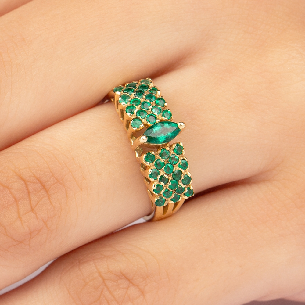 3/4 CT Marquise and Round Cut Emerald Wedding Band
