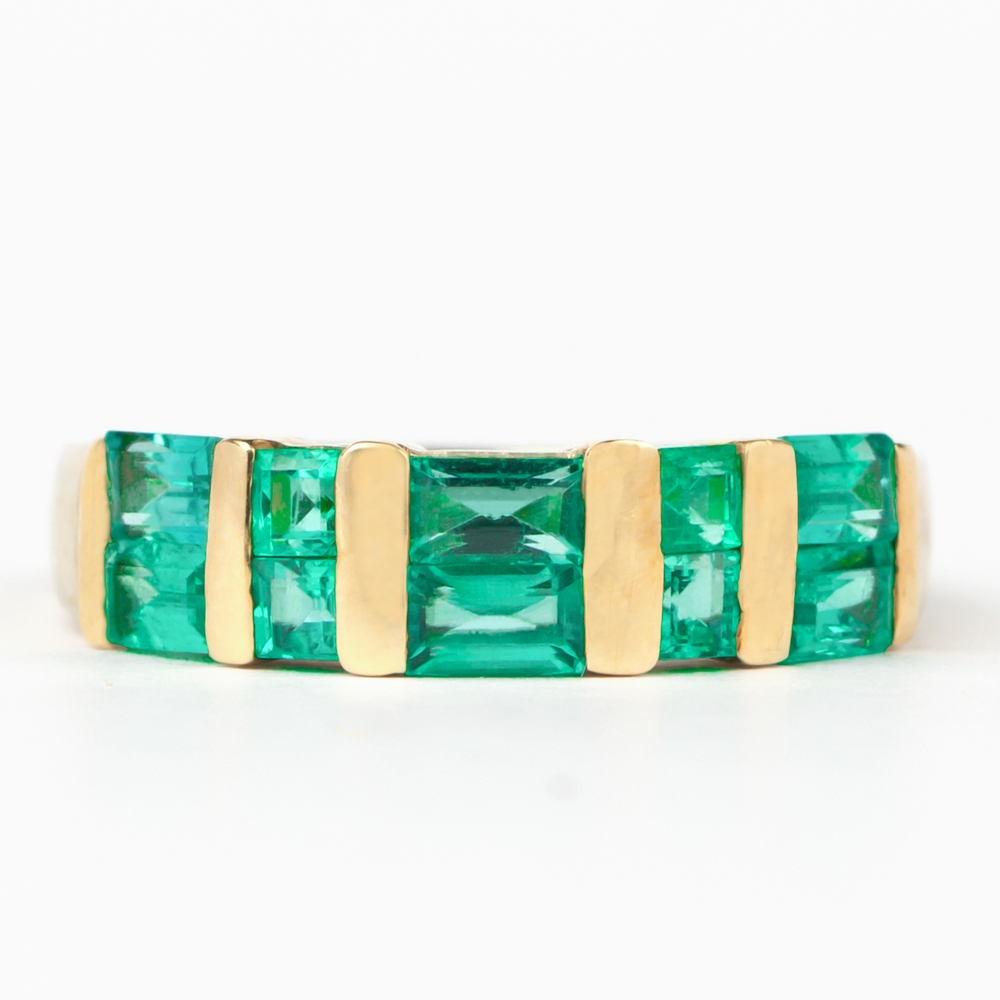1.50 CT Princess and Baguette Cut Emerald Band Ring in Bar Setting