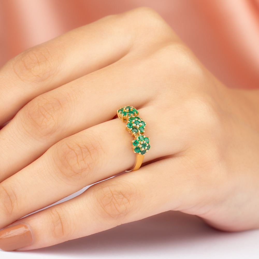 3/4 CT Emerald Floral Anniversary Ring for Women
