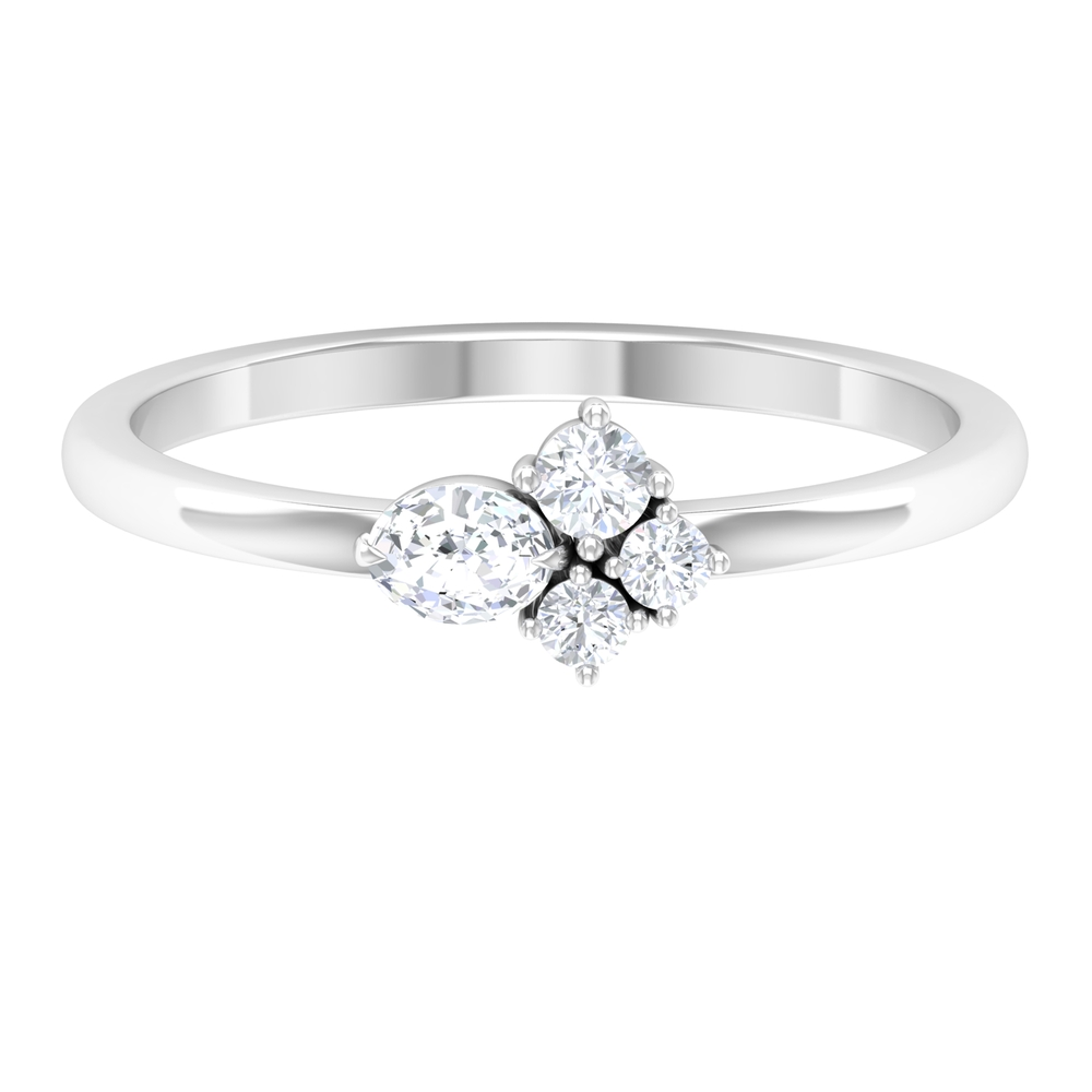Cluster Set 0.25 CT Oval and Round Cut Diamond Ring