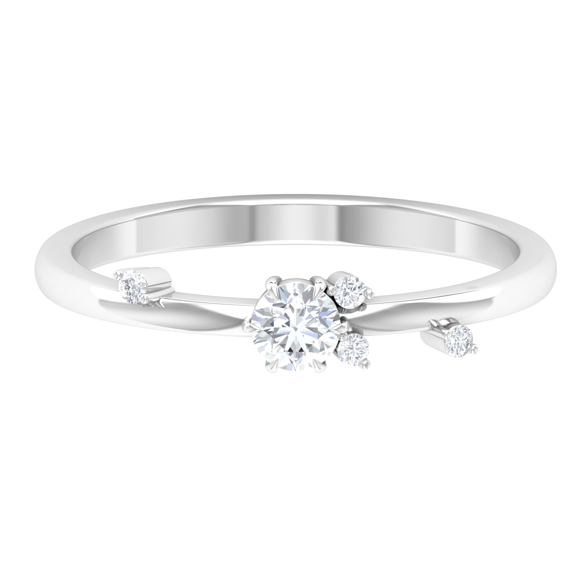 0.25 CT Round Cut Diamond Scatter Stackable Ring in Prong Set