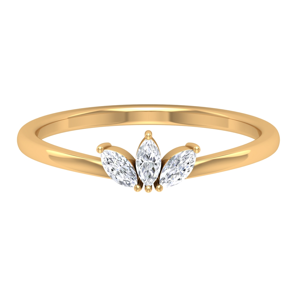 Two Prong Set Marquise Cut Diamond Three Stone Leaf Ring for Women